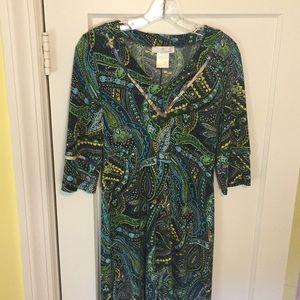 Cute multicolor 3/4 sleeve jersey dress